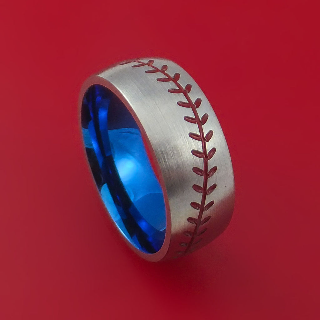 Titanium Ring with Baseball Stitching and Cerakote Inlays and Interior Anodized Sleeve Custom Made Band