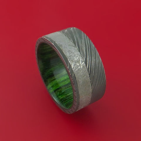 Damascus Steel Ring with Gibeon Meteorite and Jade Hardwood Custom Made Band