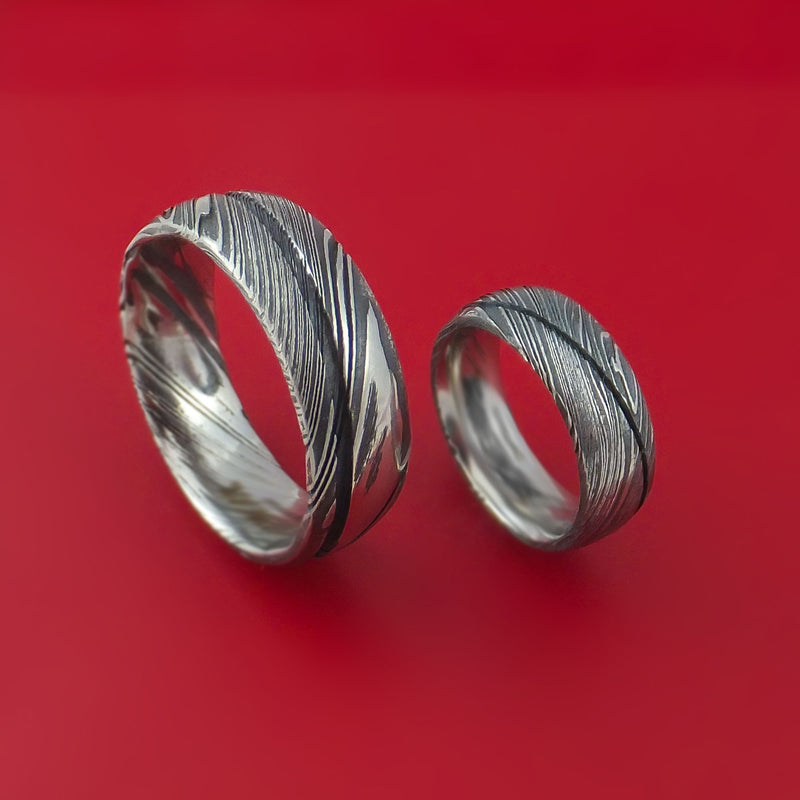 Matching Kuro Damascus Steel Ring Set Wedding Bands Genuine Craftsmanship