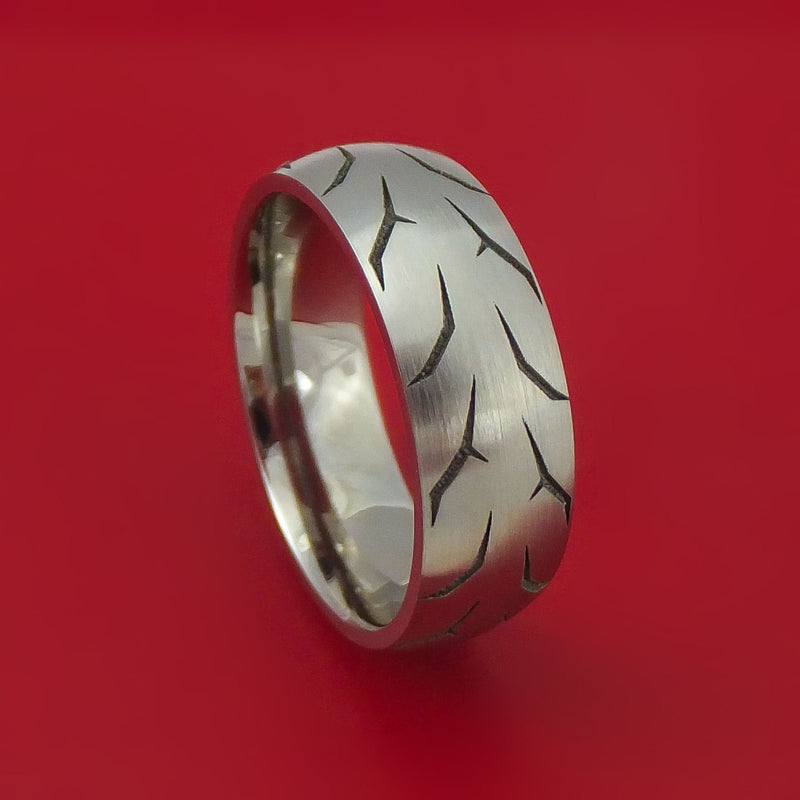 Titanium Ring with Custom Tire Tread Pattern Inlay Custom Made Band