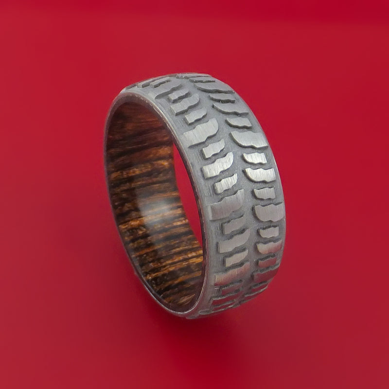 Titanium Ring with Mud Tire Tread Pattern Inlay and Interior Hardwood Sleeve Custom Made Band