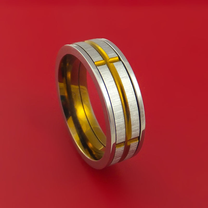 Titanium and Anodized Bronze Spinner Band Custom Made Ring