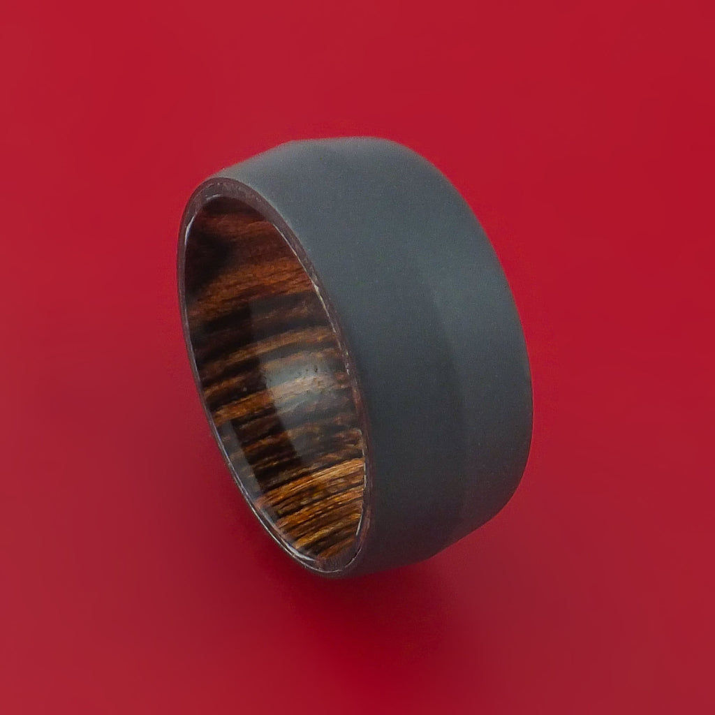 Black Zirconium and Heritage Brown Hard Wood Sleeve Ring Custom Made by Stonebrook Jewelry