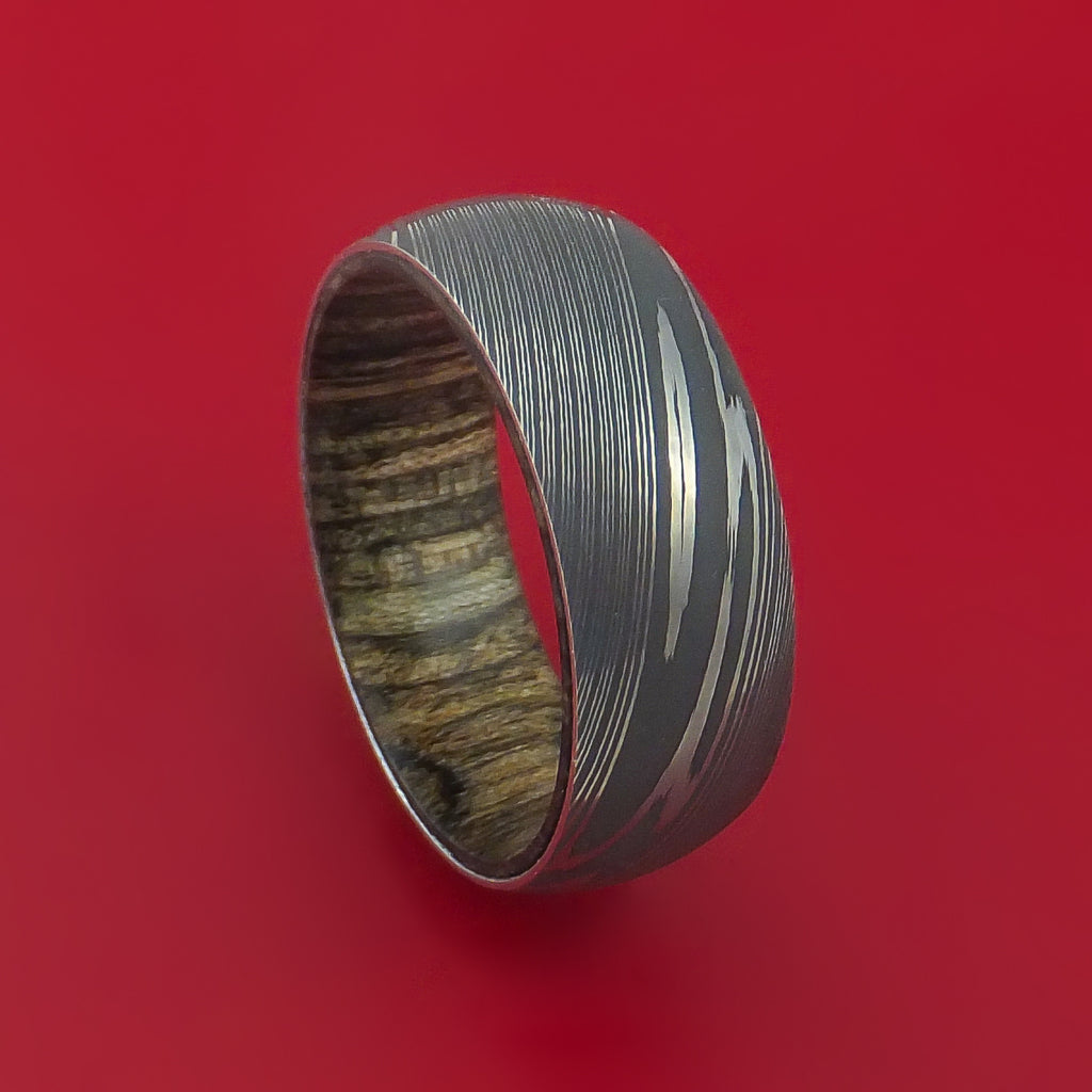 Damascus Steel Ring with Walnut Hardwood Sleeve Custom Made by Stonebrook Jewelry