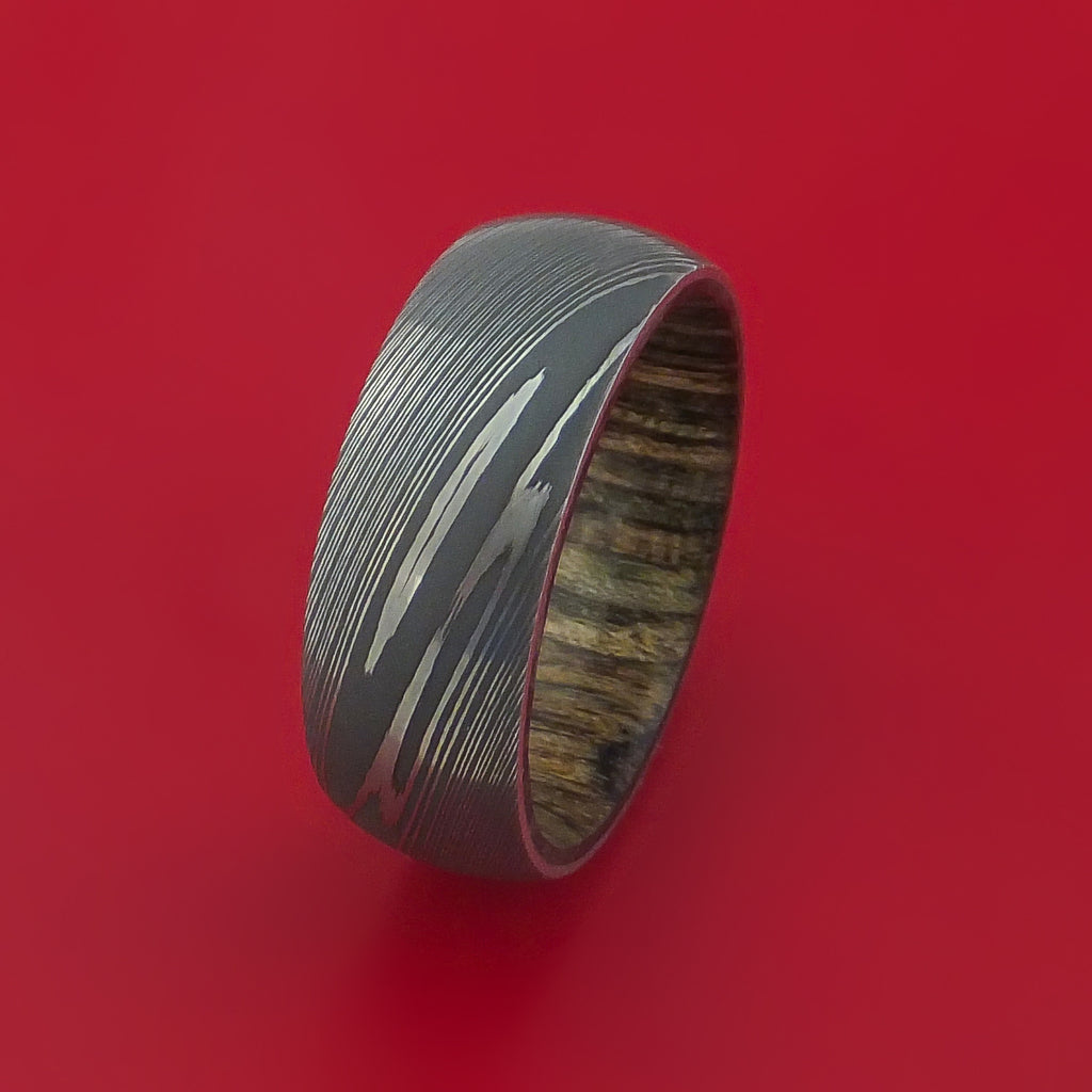 Damascus Steel Ring with Walnut Hardwood Sleeve Custom Made - Stonebrook Jewelry  - 4