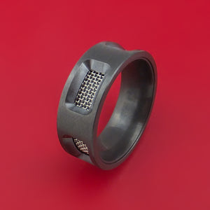 Black Zirconium Mesh Ring Custom Made Band