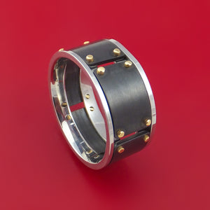 Black Zirconium and Cobalt Chrome Ring with 14k Yellow Gold Custom Made Band