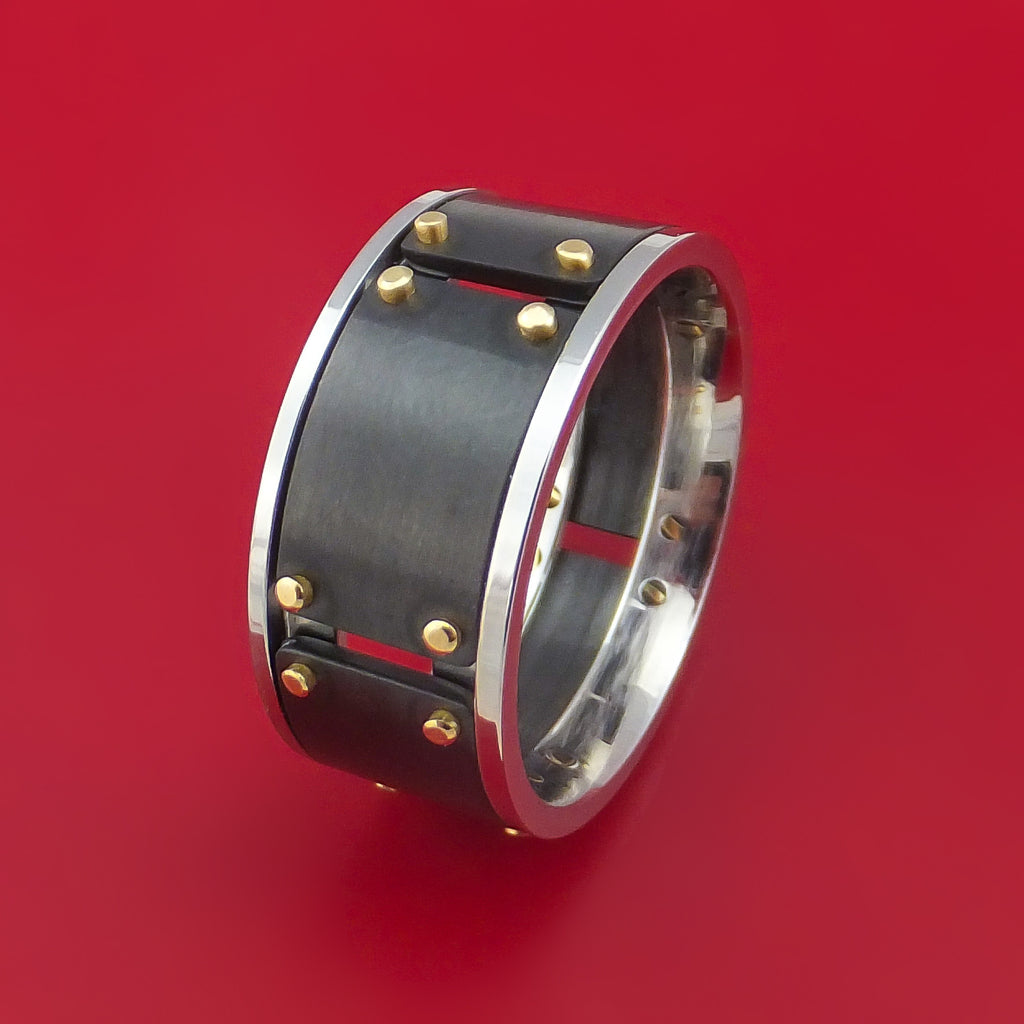 Black Zirconium and Cobalt Chrome Ring with 14k Yellow Gold Custom Made Band by Stonebrook Jewelry