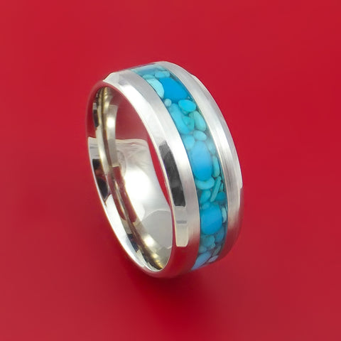 Cobalt Chrome and Turquoise Stone Ring Custom Made Band