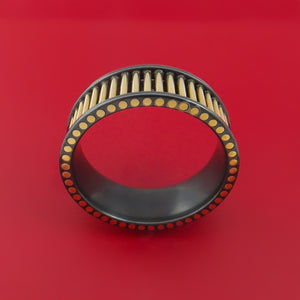 Black Zirconium and 14K Yellow Gold Rods Ring Custom Made Band