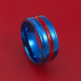 Anodized Blue Titanium Ring with Red Enamel Custom Made Band