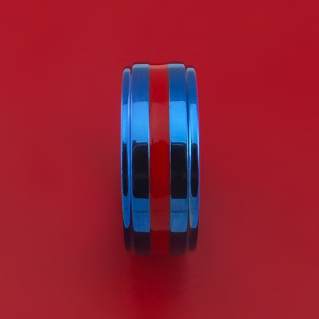 Anodized Blue Titanium Ring with Red Enamel Custom Made Band by Stonebrook Jewelry