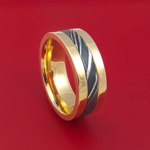 14k Yellow Gold Ring with Kuro Damascus Inlay Custom Made Band