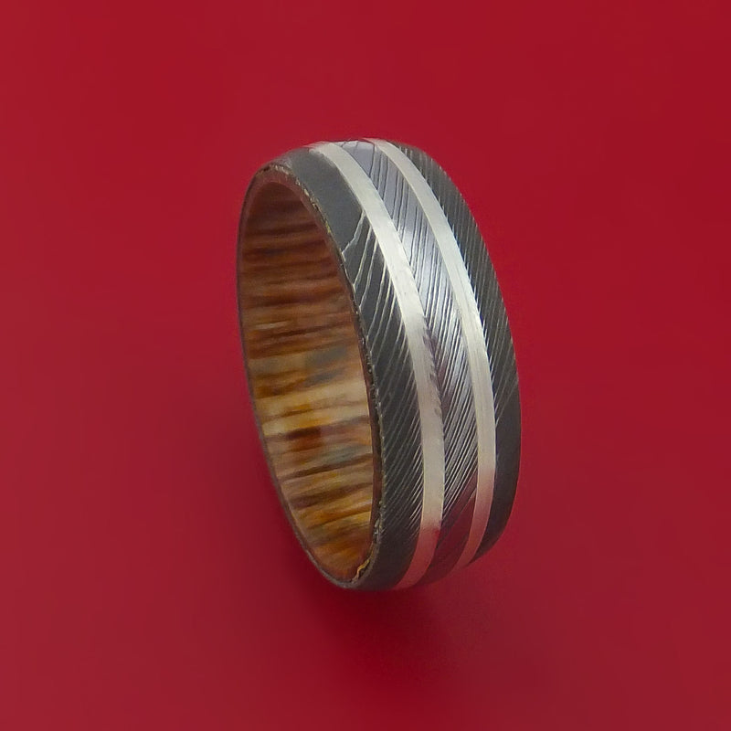 Damascus Steel Ring with Silver Inlays and American Oak Hard Wood Sleeve