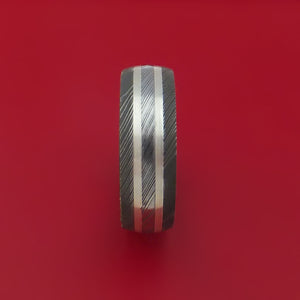 Damascus Steel Ring with Sterling Silver Inlay and Interior Hardwood Sleeve Custom Made Band