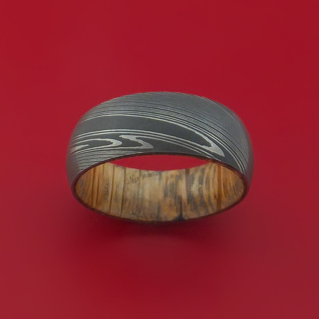 Damascus Steel Ring with Jack Daniels Whiskey Barrel Interior Wood