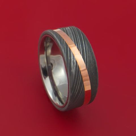 Damascus Steel Ring with Angled Copper Inlay Custom Made Band