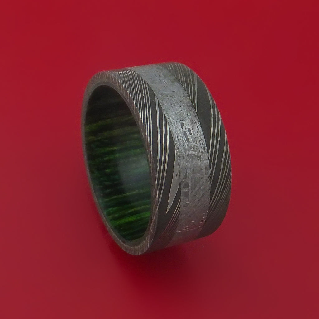 Wide Damascus Steel Ring with Gibeon Meteorite Inlay and Interior Hardwood Sleeve Custom Made Band