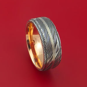 Kuro Damascus Steel 14K Rose Gold Ring with Platinum Inlay Wedding Band Custom Made