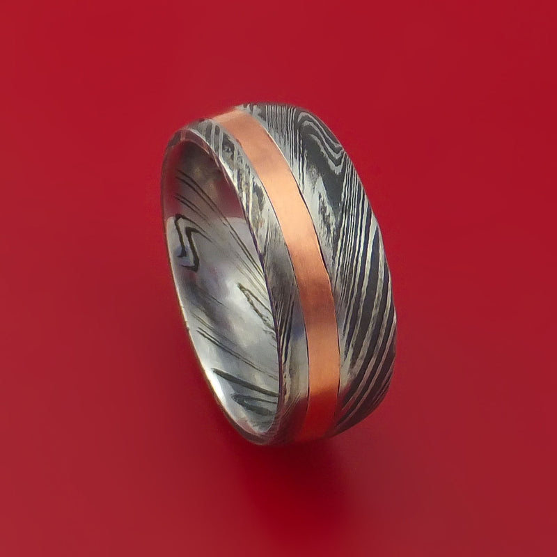 Kuro Damascus Steel and 14k Rose Gold Ring Wedding Band Custom Made