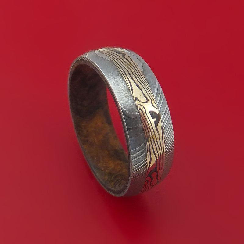 Damascus Steel Ring with 14k Yellow Gold Mokume Shakudo Inlay and Interior Hardwood Sleeve Custom Made Band