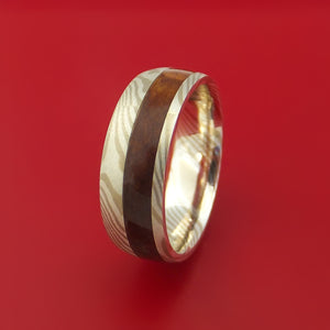 Palladium Mokume Gane Ring with Hardwood Inlay Custom Made Band