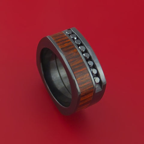 Black Zirconium Ring with Cocobolo Inlay and Black Diamonds Custom Made