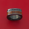 Black Zirconium Ring with Hardwood Inlay and Black Diamonds Custom Made Band