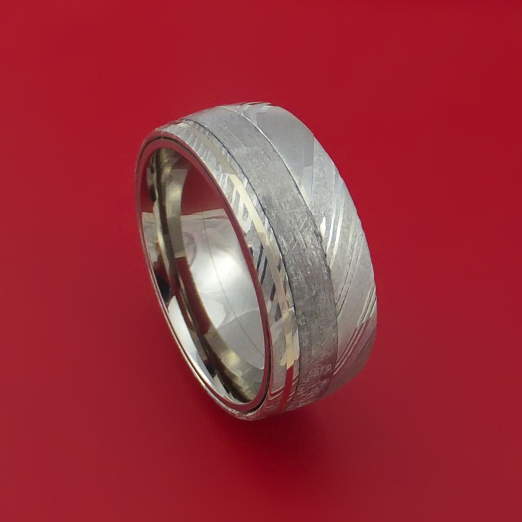 Kuro Damascus Steel Ring with Gibeon Meteorite and 14k White Gold Inlays and Interior Titanium Sleeve Custom Made Band