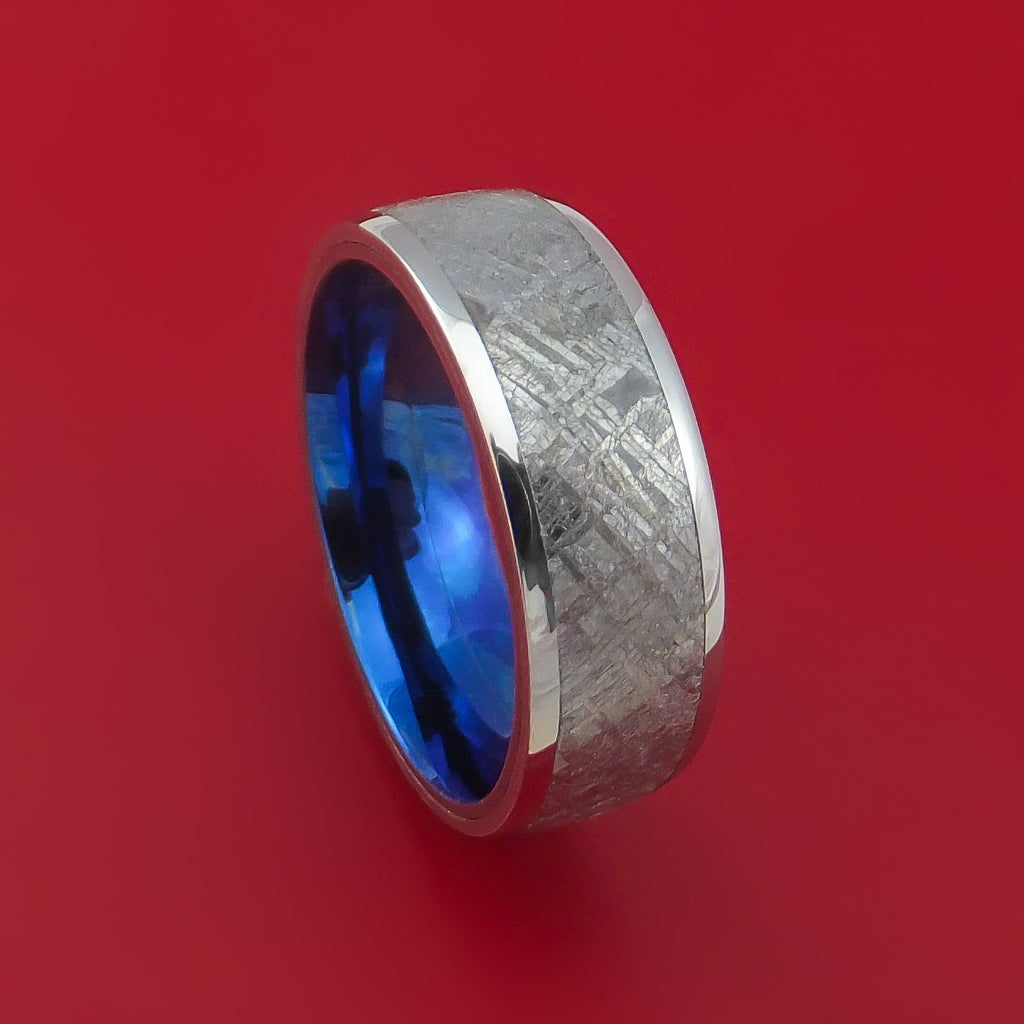 Cobalt Chrome Ring with Gibeon Meteorite Inlay and Interior Anodized Titanium Sleeve Custom Made Band