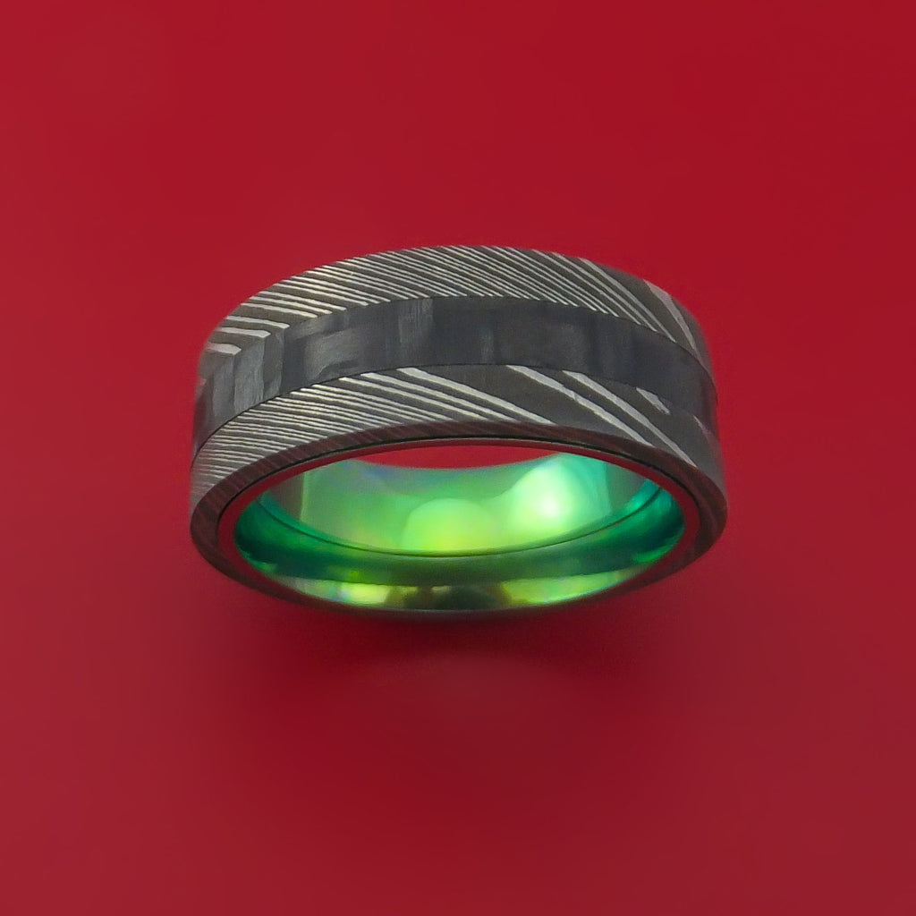 Damascus Steel and Carbon Fiber Ring Custom Made Band with Anodized Green Interior