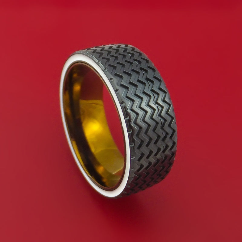 Black Zirconium Spinner Ring with Hot Rod Tire Tread Inlay Cerakote Edges and Interior Anodized Titanium Sleeve Custom Made Band