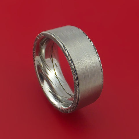 Kuro Damascus Steel and Raised Titanium Ring Custom Made Band