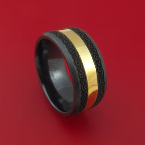 Wide Black Zirconium Ring with 18k Yellow Gold and Celtic Laser-Etched Design Inlays Custom Made Band