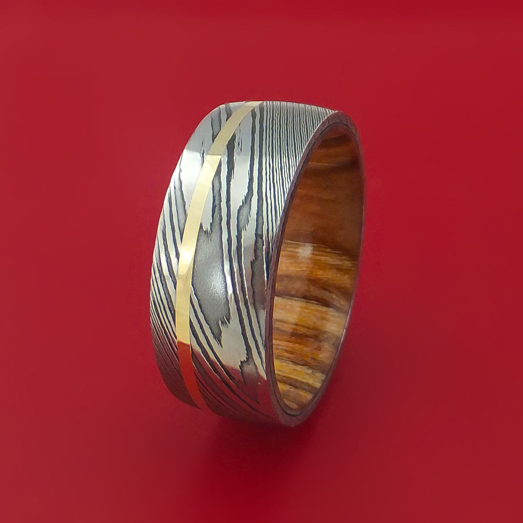 Damascus Steel and 14k Yellow Gold Band Custom Made with Apple Wood Sleeve