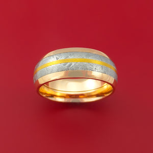 18k Rose Gold Ring with Gibeon Meteorite and 24k Yellow Gold Inlays Custom Made Band