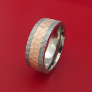 Titanium and 14K Rose Gold Ring Hammered Band Custom Made