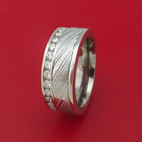 14K White Gold and Diamond Eternity Ring with Kuro Damascus Steel and Titanium Sleeve Custom Made Band