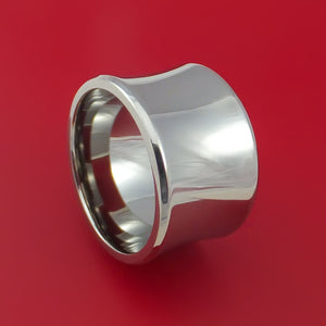 Wide Titanium Concave Ring Custom Made Band