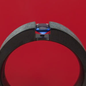 Black Zirconium Ring with Blue Sapphire Custom Made Band