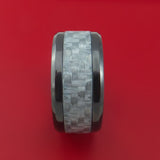 Black Zirconium Ring with Silver Carbon Fiber Inlay Style Weave Pattern