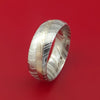 Kuro Damascus Steel Ring with Palladium and Sterling Silver Mokume Gane Inlay Custom Made Band