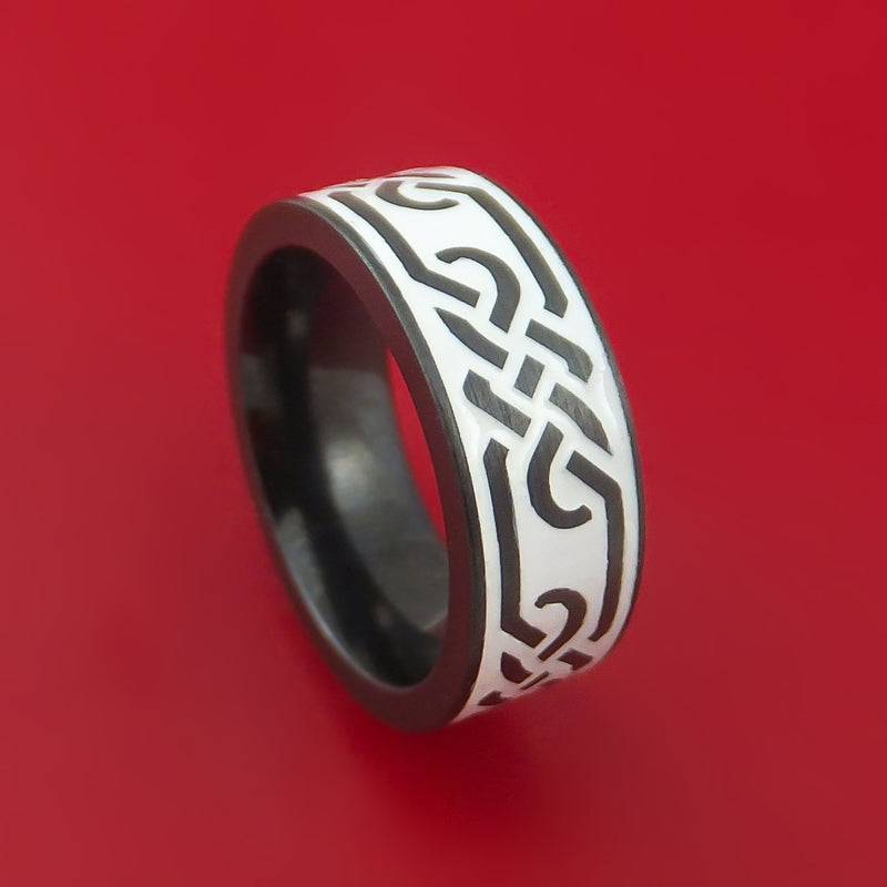 Black Zirconium Celtic Trinity Ring Irish Knot Design Band