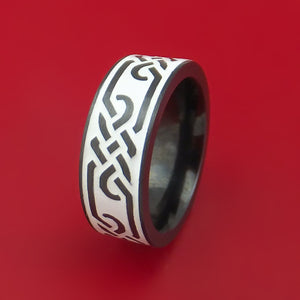 Black Zirconium Ring with Infinity Milled Celtic Design and Cerakote Inlays Custom Made Band