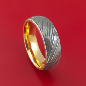 Damascus Steel Ring with Interior 14k Yellow Gold Sleeve Custom Made Band