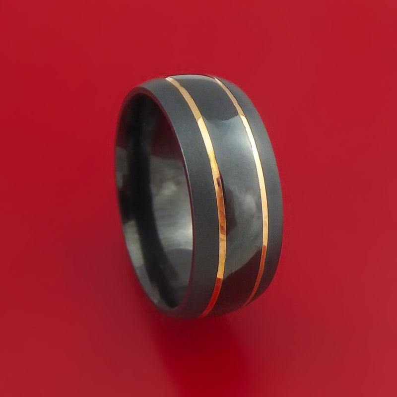 Black Zirconium Ring with 14k Yellow Gold Inlays Made to Any Sizing and Finish