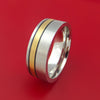 Cobalt Chrome Ring with 14k Yellow Gold and Black Antiqued Groove Inlays Custom Made Band
