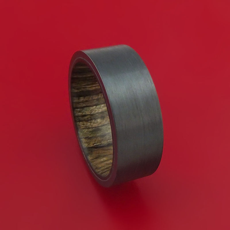 Black Zirconium Ring with Walnut Hardwood Interior Sleeve Custom Made