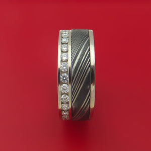 14K White Gold and Diamond Eternity Ring with Kuro Damascus Steel and Anodized Titanium Sleeve Custom Made Band