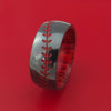 Black Zirconium Baseball Stitch Ring with Custom Color and Hardwood Sleeve
